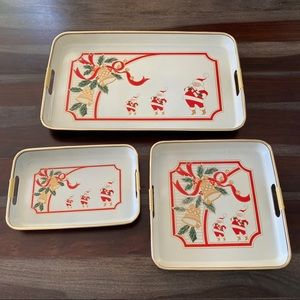 Vintage 1985 metal & lacquer Xmas tray set of 3